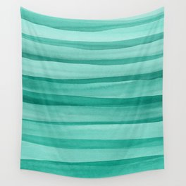 Green Watercolor Lines Pattern Wall Tapestry