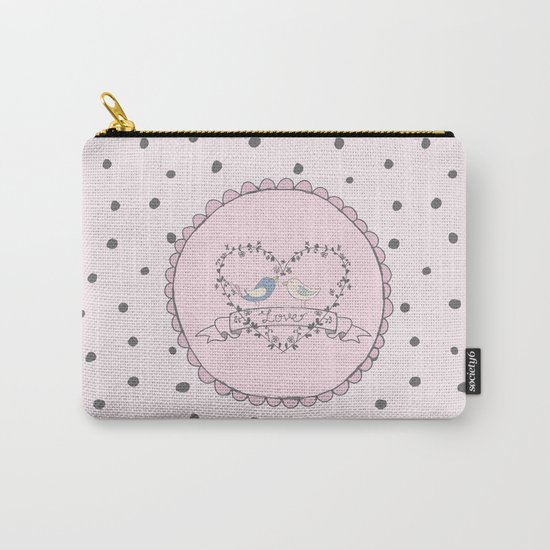 Birds  Love- Typography and grey dots on pink backround Carry-All Pouch