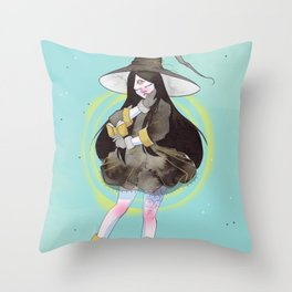 The witch with a spell book Throw Pillow