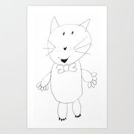 Crazy Cat Pencil Art Print