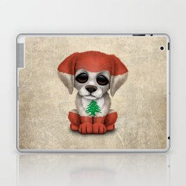 Cute Puppy Dog with flag of Lebanon Laptop & iPad Skin