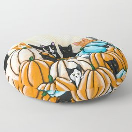 All the Cats In the Pumpkin Patch Floor Pillow