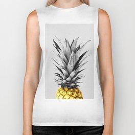 Gray and golden pineapple Biker Tank
