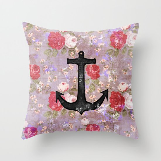Vintage Nautical Anchor Purple Pink Floral Pattern  Throw Pillow