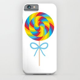 candy lollipop with bow, colorful spiral candy cane iPhone Case