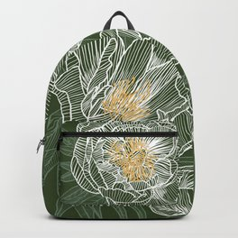 Peonies #1 White Line Art on Green Backpack