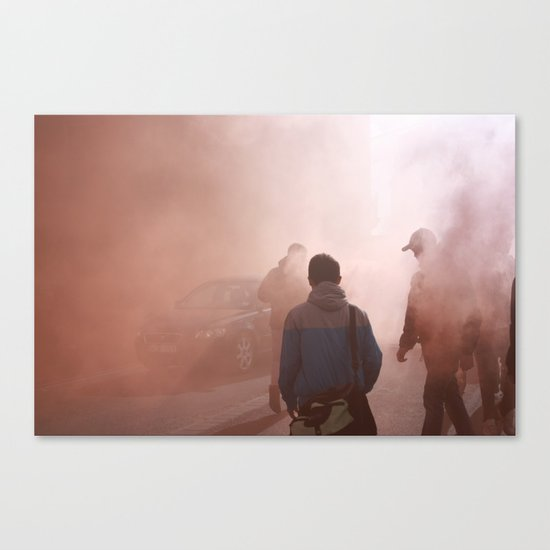 Red Smoke Streets Canvas Print