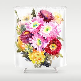 Flowers, Pink Red Yellow Floral design art Shower Curtain
