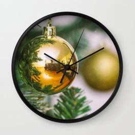 Christmas tree decorated with golden balls Wall Clock