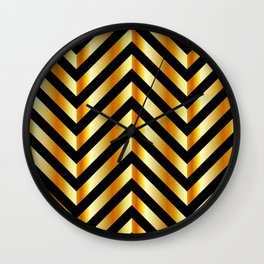 High grade raw material golden and black zigzag stripes Wall Clock
