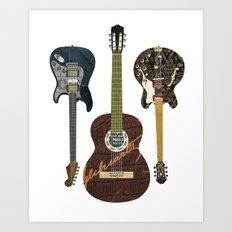 Guitar Collage Art Print