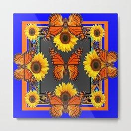 Cobalt Blue & Orange Monarch Butterflies Sunflower Patterns Art Metal Print