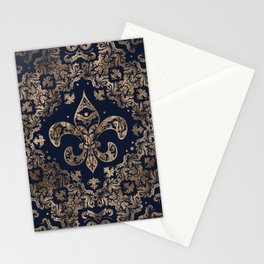 Luxury Fleur-de-lis Ornament - gold and dark blue Stationery Cards