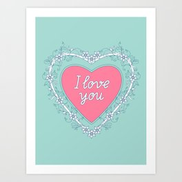 pink heart with love Art Print