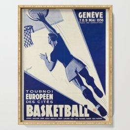 retro retro geneve basketball tournoi europeen des cites poster Serving Tray