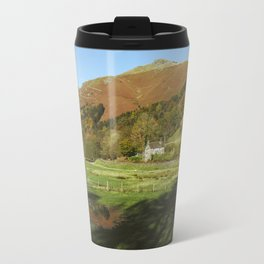 Cottage and flooded field. Grasmere, Lake District, UK. Travel Mug