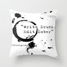 Hemingway Writing Quote Throw Pillow
