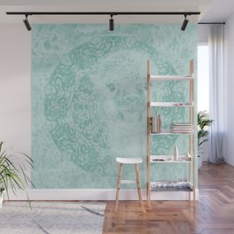 Happy Ghostly alpaca and mandala in Limpet Shell Blue Wall Mural