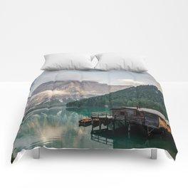 Mountain Lake Cabin Retreat Comforters