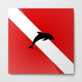 Diving Flag: Dolphin Metal Print
