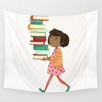 library Wall Tapestries featuring Library Girl 4 by Stephanie Fizer Coleman
