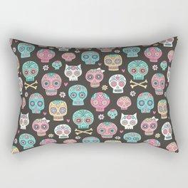Sugar Skulls On Black Rectangular Pillow