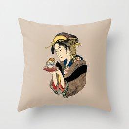 Tea Time with Shiba Inu Throw Pillow