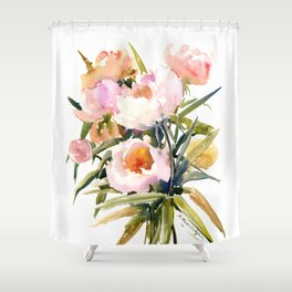 Soft Pink Peonies Asian watercolor Peonies, soft pink, olive green Shower Curtain