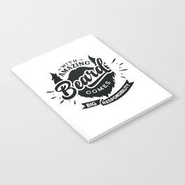 With amazing beard comes Big responsibility - Funny hand drawn quotes illustration. Funny humor. Life sayings. Notebook