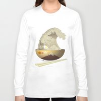 ramen Long Sleeve T-shirts featuring The Great Ramen Wave by Sheharzad
