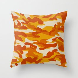 Orange Military Camouflage Pattern Throw Pillow