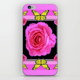Lavender Fuchsia Pink Rose Butterfly Art iPhone Skin