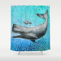 eric fan Shower Curtains featuring New Friends 3 by Eric Fan and Garima Dhawan by Eric Fan