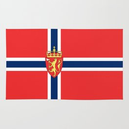 Flag of Norway Scandinavian Cross and Coat of Arms Rug