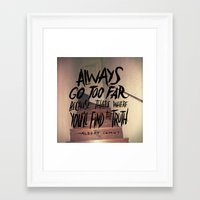 camus Framed Art Prints featuring Camus on Finding the Truth by Josh LaFayette