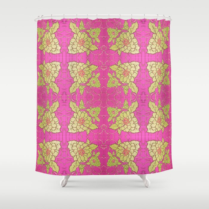 Retro Vintage Kitsch Kitchen 70 S Fl Pink Shower Curtain