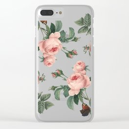 Rose Garden Butterfly Pink on White Clear iPhone Case