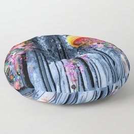 Winter Forest of Electric Jellyfish Worlds Floor Pillow