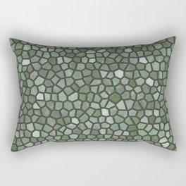Dark Green Faux Mosaic Rectangular Pillow