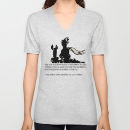 The LITTLE PRINCE and the FOX quote - stencil - grey version Unisex V-Neck