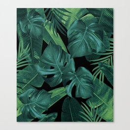 Tropical Summer Night Jungle Leaves Dream #1 #tropical #decor #art #society6 Canvas Print