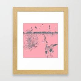 Oriental Exotic Heron & Birds on a Lake Print - Pink Framed Art Print