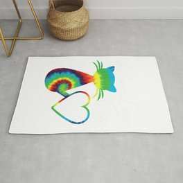 Tie Dye Style Cat Gifts For Cat Lovers Peace Love Cats Kitty T-Shirt Rug