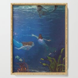 Carefree Mermaids Swimming Under the Sea Serving Tray