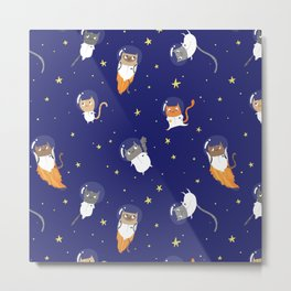 Space Cats - Pattern Metal Print