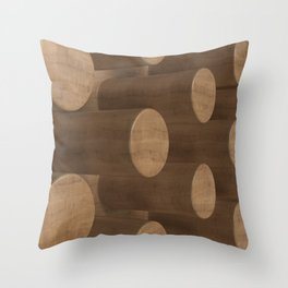 Wood with cylinders Throw Pillow