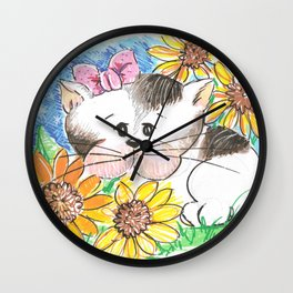 Marisol y los girasoles, the cat and the Sunflowers Wall Clock