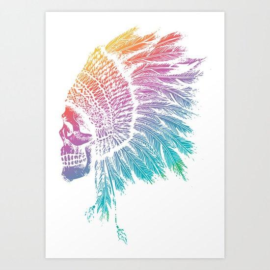 Tribal skull Art Print
