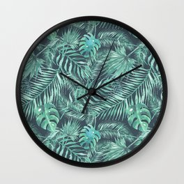 Watercolour Palm Leaf V Wall Clock