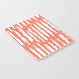 Vertical Dash White on Deep Coral Notebook